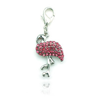 pink flamingos - 20pcs Fashion Flamingo Charms Alloy Lobster Clasp Pink Rhinestone Animals Floating Charm DIY Accessories Jewelry