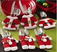 Reference Images christmas gift - 6Pcs Fancy Santa Christmas Decorations Silverware Holders Pockets Dinner Table Decor Christmas Gifts In Stock Cheap