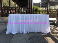 Wholesale 2pcsThicker White cm Lengthx75cm Height Organ Wrinkled Bridal Table Skirting with Clips x75cm Table Skirting
