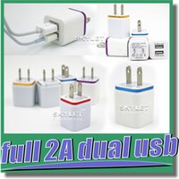 Wholesale For Iphone Dual Wall Charger Full V A A Travel Adapter US EU plug AC Power Adapter port Colorful Wall Charger DHL