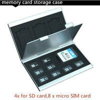 Wholesale New Aluminum Micro for SD MMC TF Memory Card Storage Box Protecter Case x for SD card x micro SIM card