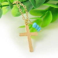 beed necklace - Shinning Gold Cross Pendant Necklaces Turquoise Beed Accessories Women Necklace Chian Jewelry Collier Femme