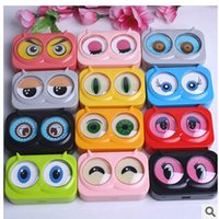 Wholesale New cool cat contact lens case for eyes cute plastic lenses box cartoon color eyewear cases suit women
