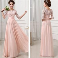 Wholesale Bohemian Style Solid Patchwork Chiffon Lace Jacquard Hollow Out Half sleeves Floor Length O Neck Evening Dress Prom Dress Bridesmaid Dresses