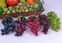 Wholesale 18CM length Simulation Artificial Plastic Grapes fake Fruit Home Restaurant Decorative Photographic Props Child Education Fruits
