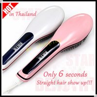Wholesale Magic hair straighteners digital temp control electric hair brush hair styling tool beautiful star straightening irons comb with LCD display