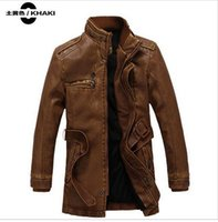 Wholesale Fall New styleFashion Men Motorcycle Leather Jacket Men Winter Thick Warm Vintage PU Leather Jackets Military Mens Trench Coat