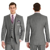Wholesale Custom Made Grey Groom Tuxedos Two Button Best Men Suits Notch Lapel Wedding Bridal Groomsman Man Suit Groom Wear Jacket Pants Tie Vest