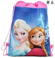 Wholesale 8 Styles New Fashion Frozen Drawstring Bags Anna Elsa Backpacks Non woven Handbags Children School Bags Kids Cartoon Shopping Bags