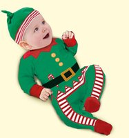 bebe caps - Christmas Baby Boys Rompers New Year Green X mas Outfits With Foot Cap Suits Cute Baby Clothes Bebe Jumpsuits Overalls hight quality free s