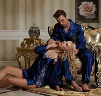 sexy fashion pajamas - 2015 Lovers pajamas fashion couple pajama sets for men women couple robe sets imitation silk V neck lace sleepwear