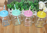 Wholesale 500ml Glass cup summer flower cup Clear Glass Tea Juice Cup Glass Mug Milk Cup Blue Pink Yellow Green glass water bottle