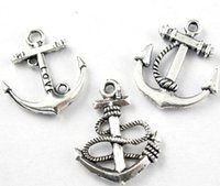 Charms anchor pendant jewelry - 3styles MIC New Tibetan Silver Anchors Charms Pendants For Jewelry Craft DIY Fit Earring Bracelets Necklace