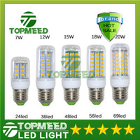 Cheap Ultra Bright SMD5730 E27 GU10 B22 E14 G9 LED lamp 7W 12W 15W 18W 20W 220V 110V 360 angle SMD LED Bulb Led Corn light 24LED 36LED 48LED 56LED