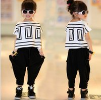 bat suit - Big Girls Summer Sets Outfits Bat Sleeve Loose T shirt Tops Black Harem Pants Kids Children Clothing Fashion Cute Girls Casual Suits