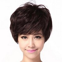 Wholesale hot Ms High temperature silk short curly hair wig D002
