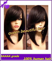 short hair wigs - Hot selling fashion bob wigs Brazilian short human hair wigs front lace wigs glueless full lace wigs with bangs baby hair