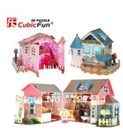 dollhouse - CubicFun D jigsaw puzzle for children handmade DIY toy lighting cabin house play house dollhouse diy toy