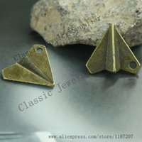 antiqued paper - DIY Jewelry Accessories Antiqued Bronze Tone Vintage Alloy Paper Plane Pendant Charms mm