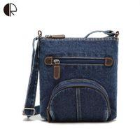 Femmes Loisirs Tanins Vent Bleu Denim Pocket One Messenger Bag Crossbody aslant Femme Jeans Classique Cartables BS472