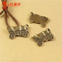 antique factory cart - 22 MM Antique Bronze Retro carriage charm pendant beads mobile phone retro jewelry accessories factory Ancient cart charm