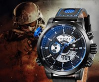 Wholesale analog digital brand name mens sports watches high quality leather black band big dial blue index multifunction boys Wrist watch male clock