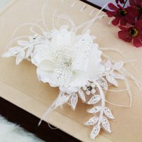 sequin applique patch - new Pearl bride hair accessory diamond flower veils wedding patches pearl lace feather wedding accessories white