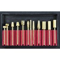 carbide tips - 12 Nail Electric Carbide Drill Bits Gold Nail Manicure Nail Art Tips Machine Bits Pedicure Tools File Metal Kit E0394