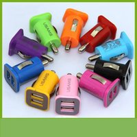 Wholesale 200pcs color V A USAMS dual port USB car charger V mah for iPhone for Samsung y HTC etc