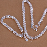 925 silver jewelry - S059 Top quality sterling silver necklace Twisted ring inches Bracelets inches Fashion Jewelry Set For Men