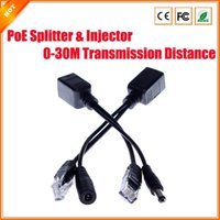 Wholesale Power over Ethernet PoE Injector Splitter Passive POE Adapter Cable Kit for Security IP Camera NVR Surveillance System black white pair