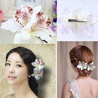 Wholesale 1PC Womens Wedding Bridal Orchid Flower Leopard Hair Clip Barrette Hair Dress Hot