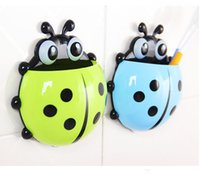 Wholesale Hot sale Cute Ladybug Cartoon Sucker Toothbrush Holder suction hooks Household Items toothbrush rack bathroom set Ma