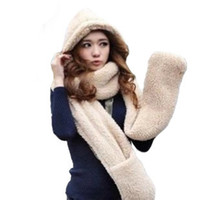 Wholesale Ms autumn and winter high collar plush coral cashmere scarves hats gloves one lovely double warm accessories