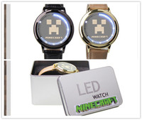 screen games - Minecraft Creeper JJ Wristwatches LED Touch Screen PU Leather M Waterproof MCMinecraft Game Gold and Black Touchscreen Watch Iron Box