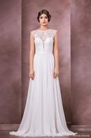 Cheap Boho Lace Wedding Dresses 2015 Vestidos de Novia Cap Sleeves Bateau Neckline Long Chiffon Summer Beach Bridal Wedding Gowns