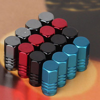 aluminum tires - 4Pcs Universal Aluminum Car Tyre Air Valve Caps Bicycle Tire Valve Cap Car Wheel Styling Round Blue Silver Gold Red