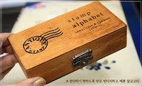 alphabet stamps lowercase - Freeshipping set NEW uppercase lowercase Alphabet wood rubber stamps set Wooden box Decorative DIY dandys