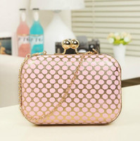 Wholesale Hot sales dotted fashion evening bags pu leather wallet with chain pink black yellow golden green clutch bags