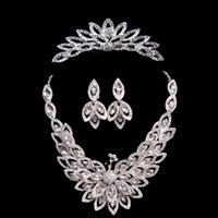 Cheap JT021 Four Pieces Suits Fashion Woman Crystal Peacock Rhinestone Hair Accessories 2015 New Bride Hair Neck Ear Accessories Free Shipping