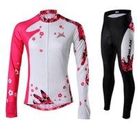Wholesale 2015 New Style Women Cycling Jersey Set Long Sleeve Winter Fleece Autumn None Fleece High Elastic Pink Purple XS XL Cycling Wear