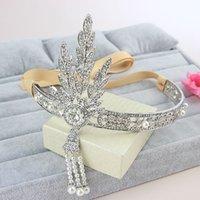Cheap Shining Beaded pearl Wedding Hair Accessories 2015 Bridal Crystal Veil Tiara Crown Headband Hair Accessories Party Wedding Tiara