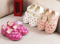 pvc leather - Princess Girls Floral PVC Leather Shoes Spring Baby Girl Korean Style Flowers Flat Antiskid Soft Shoe Yard Rose White Pink I3361