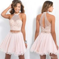 beach bones - Blush Pink High Neck Two piece homecoming dresses with pearls short cocktail bling party gowns backless chiffon beach graduation