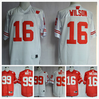 Cheap Wisconsin Badgers Football Jerseys American 99 J.J. Watt College Jersey 16 Russell Wilsons 25 Melvin Gordon III Red White Shirt