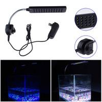 Wholesale Safe W Aquarium led Fish Tank LED Clip Light Lighting Lamp Modes Blue B W Color high quality L0363