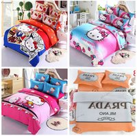 Cheap new arrive 2015 fashion Designer 3D Cartoon kitty Printing Duvet cover Bed sheet Pillowcase 4 pcs bedding set bed linen luxury bedclothes