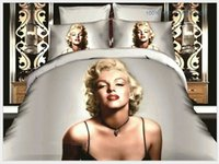 Cheap 3D Marilyn monroe bedding set Marylin quilt duvet cover double full queen size bed in a bag sheet linen bedspread doona bedsheet