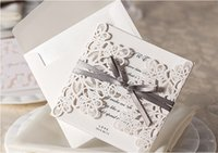 embossed wedding invitations - Elegant Embossed Free Personalized Customized Printing White Wedding Invitations Cards with Bows