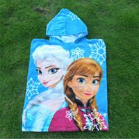 Wholesale 60 cm Fashion Hoodies Baby FROZEN Towel Frozen Elsa Anna OLAF Soft towels Baby Shower Towels child Hooded beach towels bucket garments